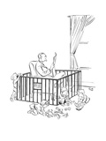 Man is seeking refuge from his children inside their playpen. - New Yorker Cartoon Premium Giclee Print by Carl Rose
