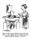 """""""Mr. and Mrs. Stephen McCarter James request the honor of your presence at…"""" - New Yorker Cartoon Premium Giclee Print by Henry Martin"""