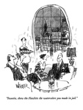 """Sweetie, show the Hazlitts the watercolors you made in jail."" - New Yorker Cartoon Premium Giclee Print by Robert Weber"