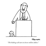 """The bidding will start at eleven million dollars."" - New Yorker Cartoon Reproduction giclée Premium par Charles Barsotti"