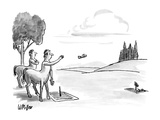 Two centaurs playing a game of 'horse-shoes' but using people's sandals. - New Yorker Cartoon Premium Giclee Print by Warren Miller