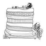 The Princess from the princess and the pea, lies on therapists couch on se… - New Yorker Cartoon Reproduction giclée Premium par Gahan Wilson