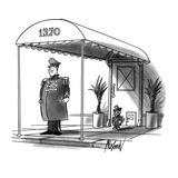 A cat doorman stands by a pet flap at a city house. - New Yorker Cartoon Premium Giclee Print by Kenneth Mahood