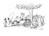 A group of monkeys are drawing the crowd of people in the park. - New Yorker Cartoon Premium Giclee Print by Al Ross