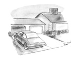 Man in car pulls into driveway; along the side of the driveway there is a … - New Yorker Cartoon Premium Giclee Print by Stan Hunt