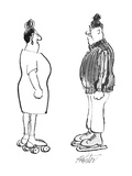 Woman in roller skates and man in ice skates face each other angrily. - New Yorker Cartoon Premium Giclee Print by Mischa Richter