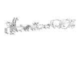 Two-page drawing showing pairs of animals in line to the ark with two snai… - New Yorker Cartoon Premium Giclee Print by Mischa Richter