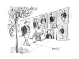 Man walks by street artist who has painted several pictures of him. - New Yorker Cartoon Premium Giclee Print by Frank Modell
