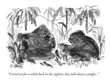 """I tried art for a while back in the eighties, but, talk about a jungle...…"" - New Yorker Cartoon Premium Giclee Print by Donald Reilly"