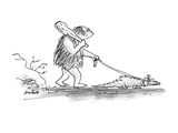 A caveman with a club walks his pet alligator on a leash. - New Yorker Cartoon Premium Giclee Print by Frank Modell