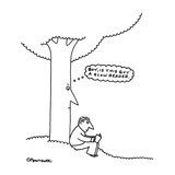"Man reads by tree, tree is thinking,""Boy is this guy a slow reader."". - New Yorker Cartoon Reproduction giclée Premium par Charles Barsotti"