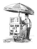 """Man selling hot dogs.  On his stand there is a sign that reads """"Go for it!…"""" - New Yorker Cartoon Premium Giclee Print by Warren Miller"""