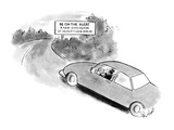 "Car driving around a bend,where a road sign reads, ""Be on the Alert/ A New…"" - New Yorker Cartoon Premium Giclee Print by Stan Hunt"