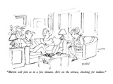 """Marvin will join us in a few minutes.  He's on the terrace, checking for …"" - New Yorker Cartoon Premium Giclee Print by Frank Modell"