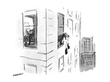 Dog dropping slippers, out of the window. - New Yorker Cartoon Premium Giclee Print by James Stevenson