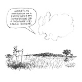 """Man looking at cloud formations who says """"Here's My Impression Of A Bunny.…"""" - New Yorker Cartoon Impressão giclée premium por Mischa Richter"""