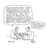 Woman quoting to man. - New Yorker Cartoon Reproduction giclée Premium par Charles Barsotti