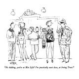 """No kidding, you're at Met Life  I'm practically next door, at Irving Tru…"" - New Yorker Cartoon Reproduction giclée Premium par Robert Weber"