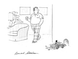 "Man notices mice in convertable with sign ""Just Married"" on the bumper goi… - New Yorker Cartoon Premium Giclee Print by Bernard Schoenbaum"