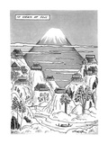 Views of Fuji.Title.Large drawing of Mt. Fuji with 10 factories nearby on … - New Yorker Cartoon Premium Giclee Print by Henry Martin