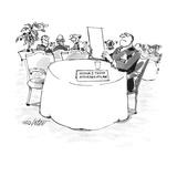 "Man at table in restaurant with name plate ""Arthur J. Trent Attorney-At-La… - New Yorker Cartoon Impressão giclée premium por Mischa Richter"
