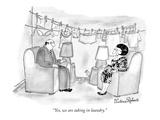 """""""Yes, we are taking in laundry."""" - New Yorker Cartoon Premium Giclee-trykk av Victoria Roberts"""