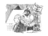 Tattoo artist puts phrenological markings on a man's bald head. - New Yorker Cartoon Premium Giclee Print by Bernard Schoenbaum
