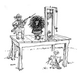 Bald man standing under guillotine with scissors and comb as hairy man is … - New Yorker Cartoon Reproduction giclée Premium par George Booth