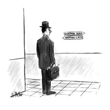 """Man looking at signs one says """"Sleeping Dogs"""", the other """"Napping Cats"""". - New Yorker Cartoon Impressão giclée premium por Warren Miller"""