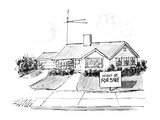 House with sign in front of it that reads, 'Might Be for Sale.' - New Yorker Cartoon Impressão giclée premium por Mischa Richter