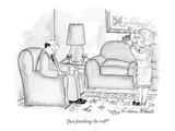 """""""Just finishing the roll"""" - New Yorker Cartoon Premium Giclee-trykk av Victoria Roberts"""