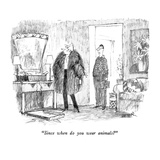 """Since when do you wear animals"" - New Yorker Cartoon Reproduction giclée Premium par Robert Weber"