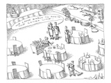 Couple speaking to worker at wedding hall, as area is being prepared,  'We… - New Yorker Cartoon Premium Giclee Print by John O'brien
