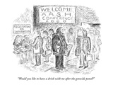 """""""Would you like to have a drink with me after the genocide panel"""" - New Yorker Cartoon Premium Giclee Print by Edward Koren"""
