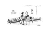 Two therapists each with patient on couch sit on opposite sides of love se… - New Yorker Cartoon Premium Giclee Print by Warren Miller
