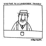 A man sits at a bar, with a drink in front of him, looking around. - New Yorker Cartoon Reproduction giclée Premium par Charles Barsotti