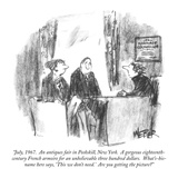 """July, 1967.  An antiques fair in Peekskill, New York.  A gorgeous eightee…"" - New Yorker Cartoon Reproduction giclée Premium par Robert Weber"