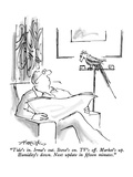 """""""Tide's in.  Irma's out.  Stove's on.  TV's off.  Market's up.  Humidity's…"""" - New Yorker Cartoon Premium Giclee Print by Henry Martin"""