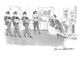 Wife confronts husband in living room with three men delivering boxes of i… - New Yorker Cartoon Premium Giclee Print by Bernard Schoenbaum