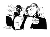 "Man with button saying ""Hi My Lawyers Name is Walt Cardwell. - New Yorker Cartoon Premium Giclee Print by Mischa Richter"