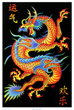 Asian Dragon Flocked Blacklight Poster Póster