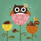 Owl, Squirrel and Hedgehog in Flowers Posters van Nancy Lee