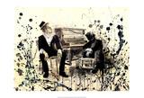 Tom Waits, zittend bij piano met ander persoon Posters van Lora Zombie