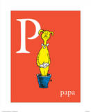 P is for Papa (red) Arte por Theodor (Dr. Seuss) Geisel