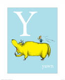 Y is for Yawn (blue) Poster by Theodor (Dr. Seuss) Geisel