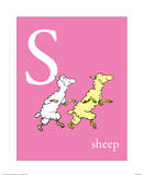 S is for Sheep (pink) Prints by Theodor (Dr. Seuss) Geisel