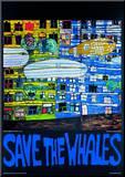 Save the Whales Monteret tryk af Friedensreich Hundertwasser