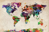 World Map Urban Watercolour Stretched Canvas Print by Michael Tompsett
