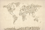 Music Notes Map of the World Map Stretched Canvas Print by Michael Tompsett