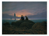 Moon Rising over the Sea (See also Image Number 479), 1822 Giclée-tryk af Caspar David Friedrich